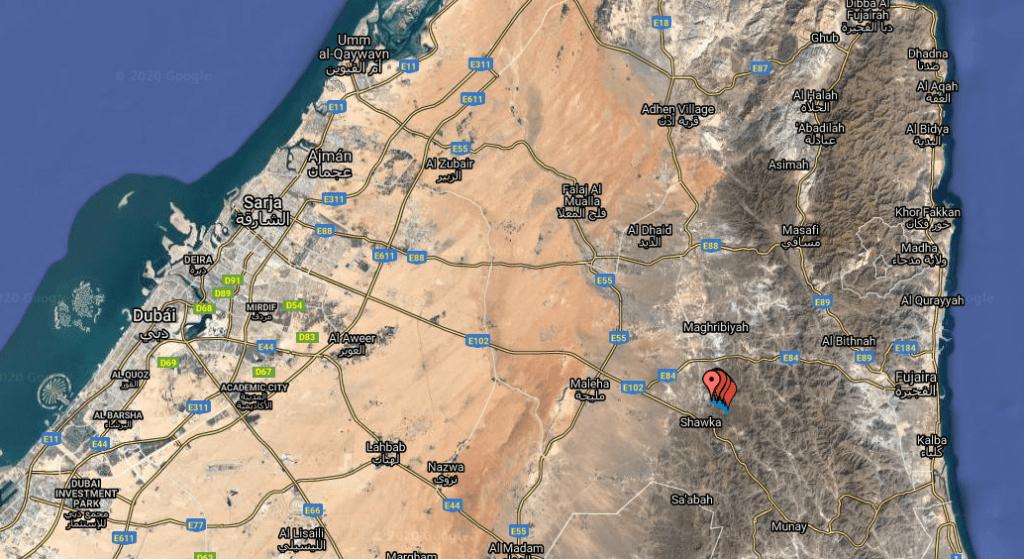 Shawka mapa ruta excursión lago wadi vivir dubai (13)